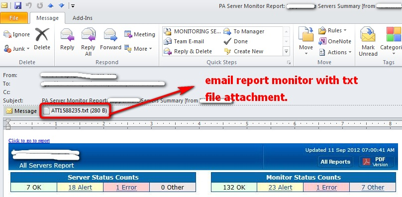 Email report attachment txt
